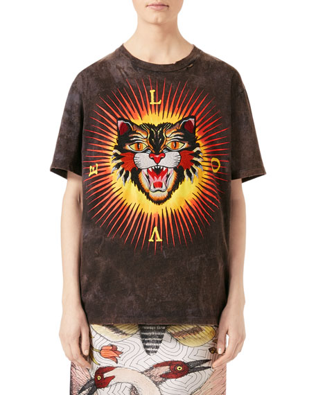 Gucci Embroidered Cat Jersey T-Shirt, Black and Matching