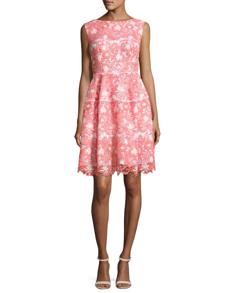 Talbot Runhof Floral Lace Sleeveless Dress, Coral