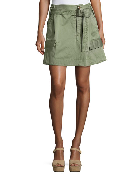 Marc Jacobs Belted Cargo-Pocket Mini Skirt, Camouflage