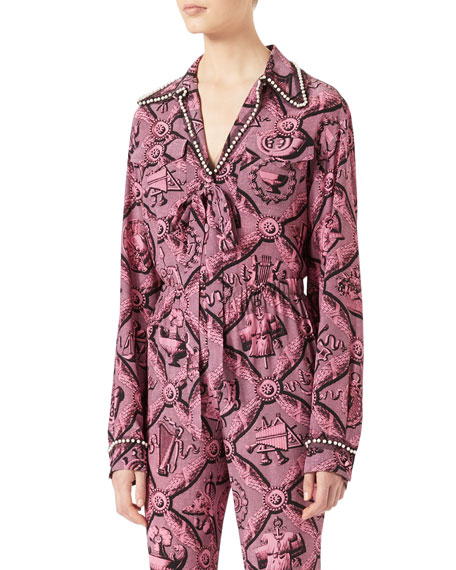 Gucci Romain Printed Silk Shirt, Pink/Black and Matching