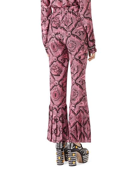 Romain Printed Silk Pants, Pink/Black