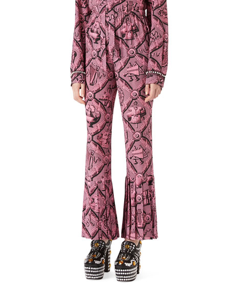 Gucci Romain Printed Silk Pants, Pink/Black