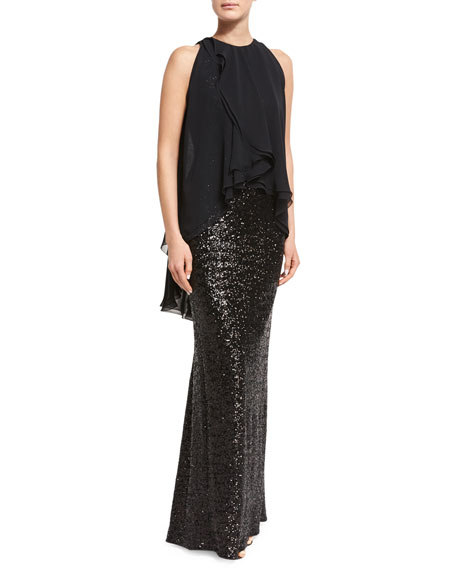 Morava Sequined Sleeveless Gown with Ruffled Chiffon Overlay, Black