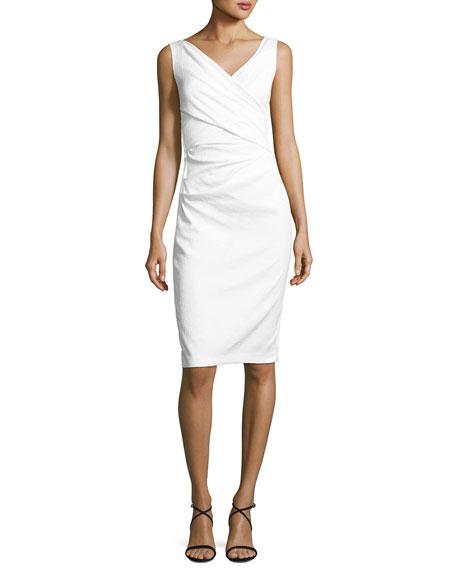 Textured Stretch-Cotton Sleeveless Dress, White