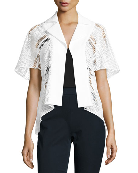 Lace & Textured Stretch-Cotton Jacket, White