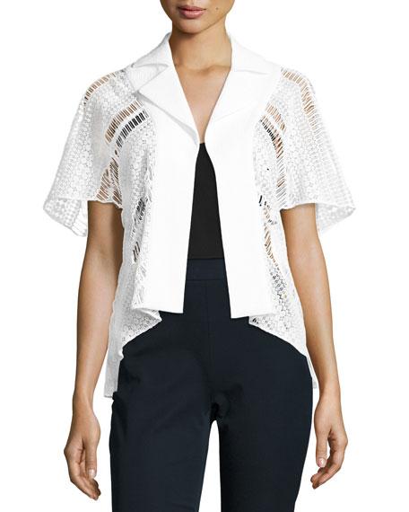 Talbot Runhof Textured Stretch-Cotton Sleeveless Dress, White and