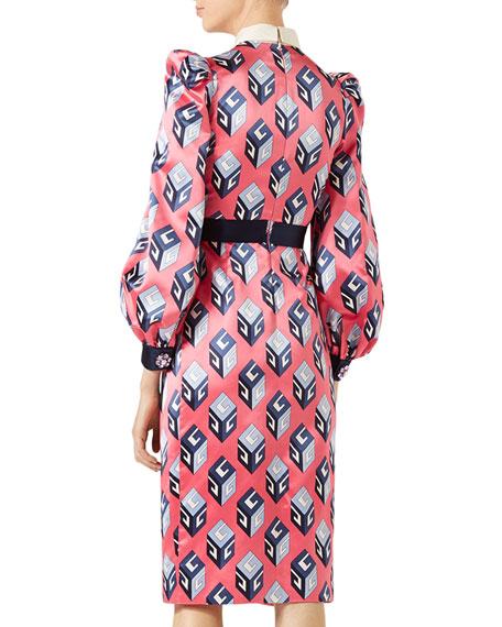 GG Wallpaper Printed Silk Dress, Pink/Blue