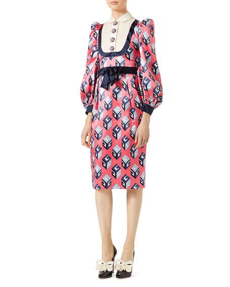 Gucci GG Wallpaper Printed Silk Dress, Pink/Blue