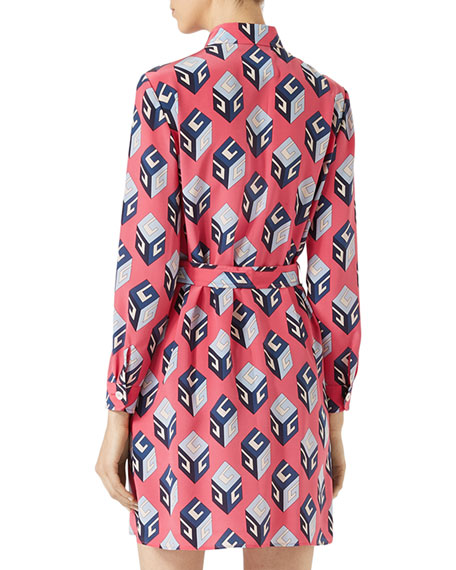 GG Wallpaper Printed Silk Shirt, Pink/Blue