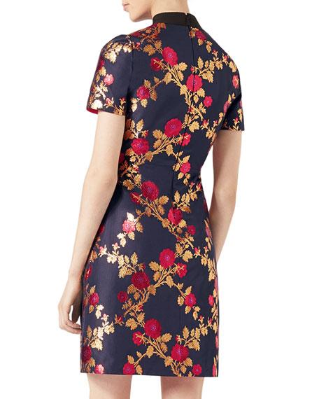 Floral Brocade Dress, Blue/Multicolor