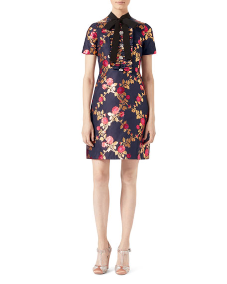 Gucci Floral Brocade Dress, Blue/Multicolor