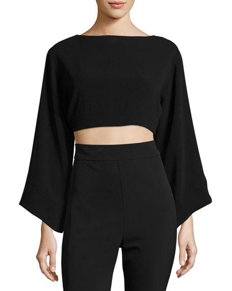 Haney Keira Full-Sleeve Tie-Back Crop Top, Black