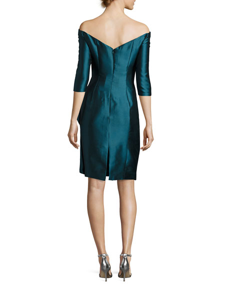 Off-the-Shoulder Draped 3/4-Sleeve Cocktail Dress, Turquoise