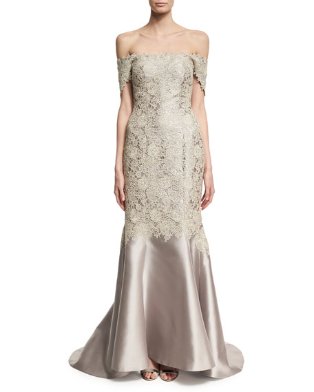Strapless Lace & Satin Gown, Silver
