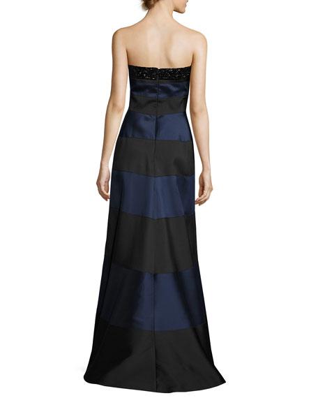 Embellished Striped Strapless Gown, Blue/Black