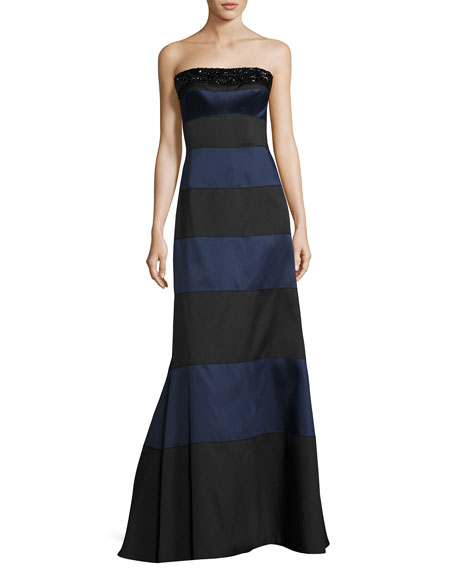 Embellished Striped Strapless Gown, Blue/Black