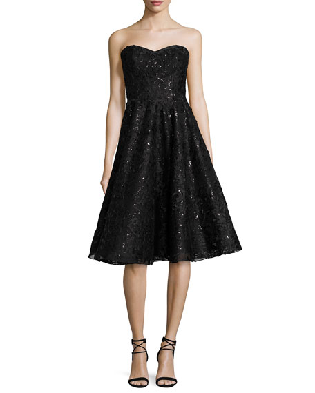 Liancarlo Embellished Lace Strapless Cocktail Dress, Black