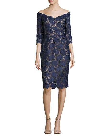 LIANCARLO Floral Guipure Lace Off-The-Shoulder Cocktail Dress, Marine in Blue