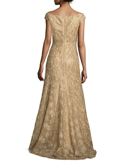 Floral Guipure Portrait Off-the-Shoulder Gown, Gold