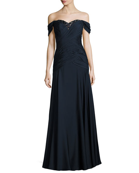 Helen Morley Embellished Off-the-Shoulder Draped Georgette Gown,