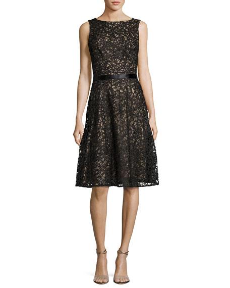 Macramé Sleeveless Cocktail Dress, Black