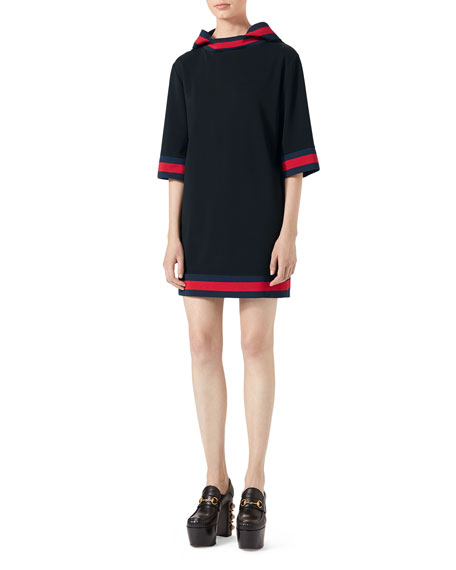 Gucci Stretch-Viscose Hooded Dress with Web