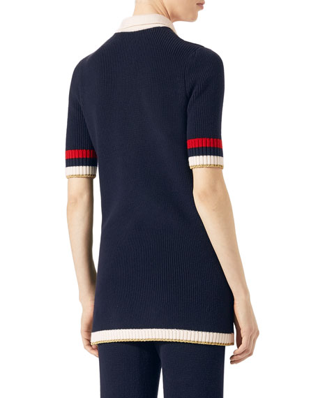 Gucci Cotton Knit Tunic Sweater with Bow, Dark Blue
