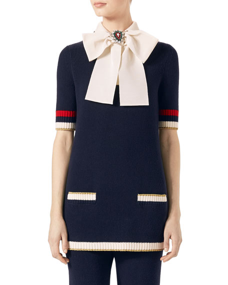 Gucci Cotton Knit Tunic Sweater with Bow, Dark