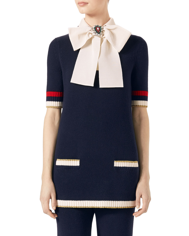 b021f93e5cf Gucci Cotton Knit Tunic Sweater with Bow, Dark Blue | Neiman Marcus