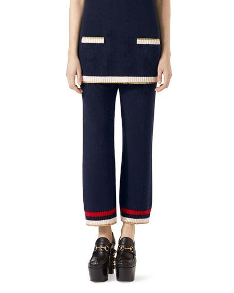 Sylvie Web Ribbed Ankle Pants, Dark Blue