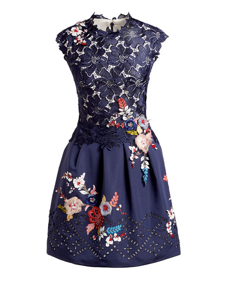 Embroidered Floral Lace Fit & Flare Dress, Navy