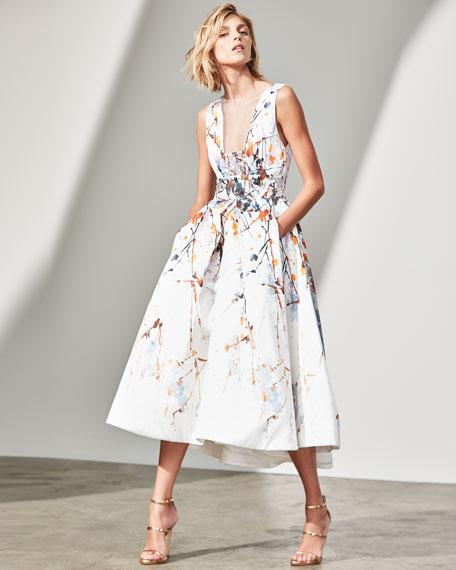Watercolor Mikado Sleeveless Tea-Length Gown, White