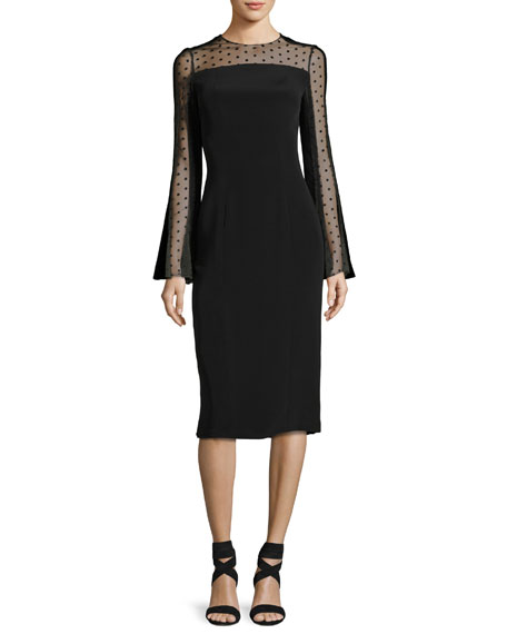 Monique Lhuillier Long-Sleeve Point d'Esprit Cocktail Dress,