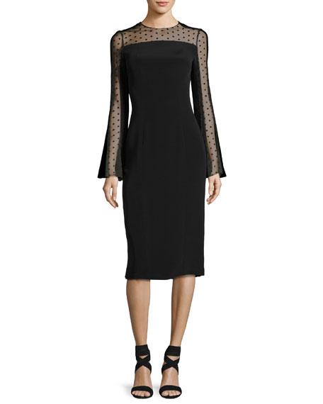Monique Lhuillier Long-Sleeve Point d'Esprit Cocktail Dress,