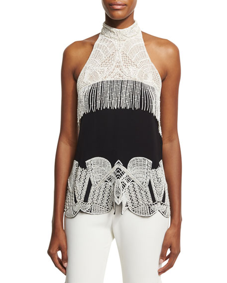 Jonathan Simkhai Collection Two-Tone Beaded Halter Top,