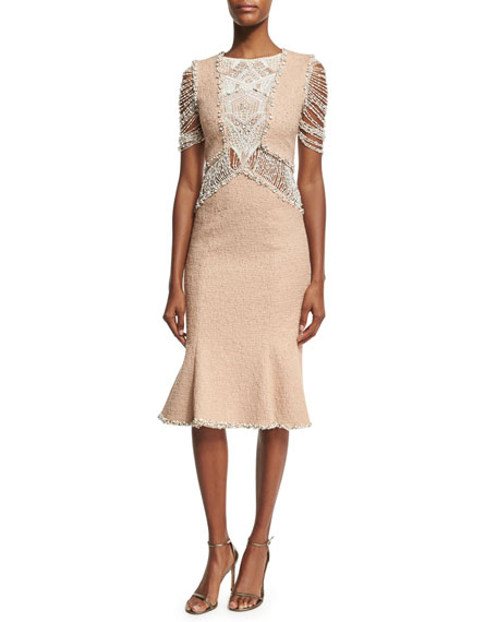 Boucle Flounce-Hem Dress with Beaded Lace, Blush