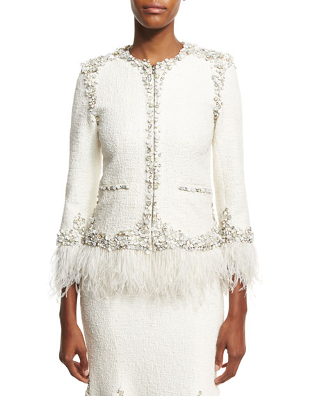 Jonathan Simkhai Collection Beaded Boucle Jacket with Feather