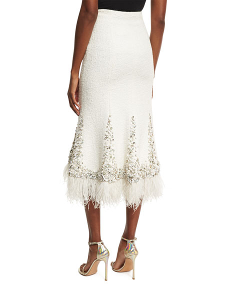 Beaded Boucle Trumpet Skirt with Feather Hem, Ivory