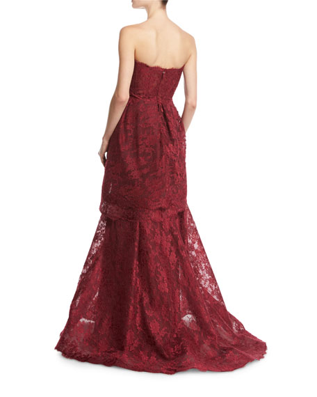 Chantilly Lace Strapless Trumpet Gown