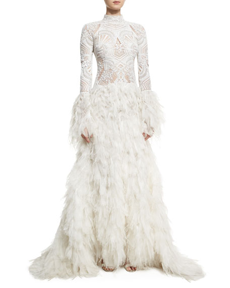 Long-Sleeve Lace Gown with Ostrich Feather Skirt, White