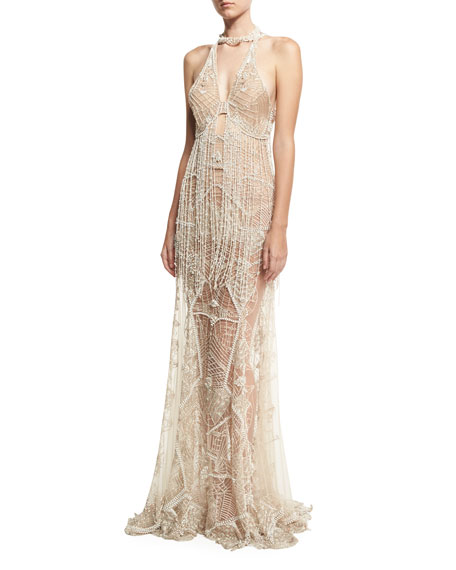 Beaded Lace Sleeveless Open-Back Gown, Ivory