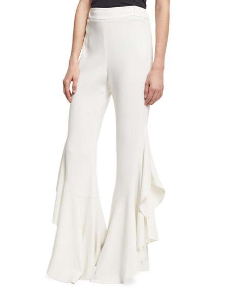 Jonathan Simkhai Collection Classic Crepe Side-Ruffle Pants,