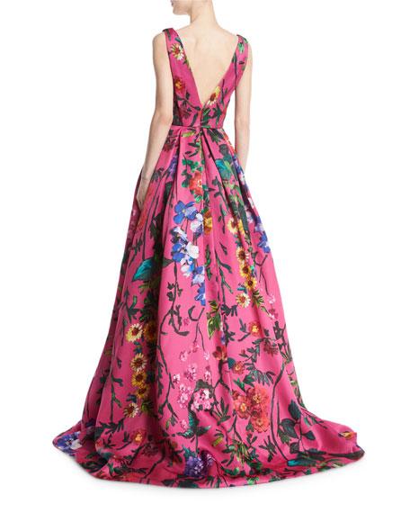Garden Floral Sleeveless Ball Gown, Pink