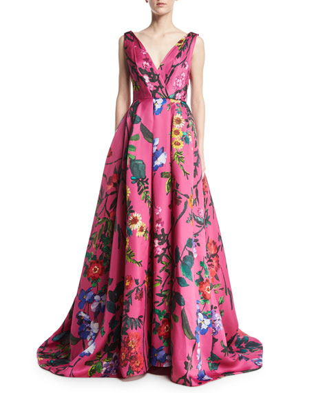 Monique Lhuillier Garden Floral Sleeveless Ball Gown, Pink