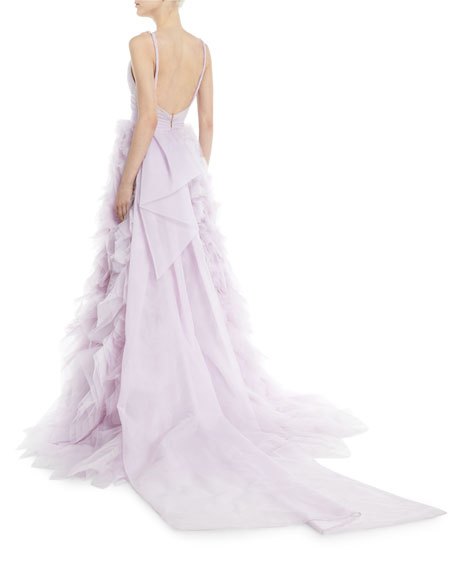 Draped Tulle Ball Gown with Ruffle Skirt, Lilac