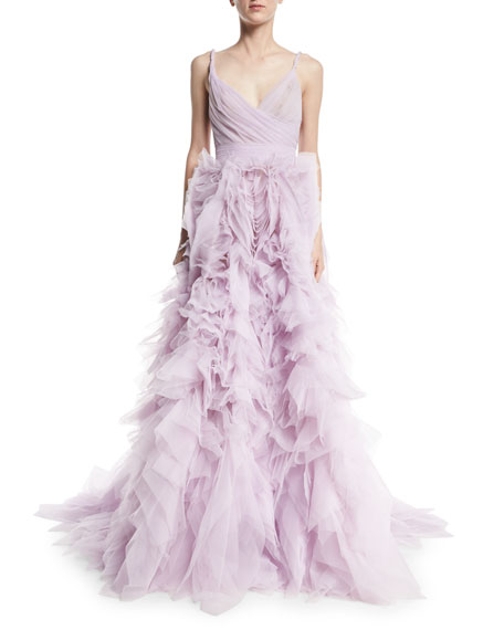 Monique Lhuillier Draped Tulle Ball Gown with Ruffle
