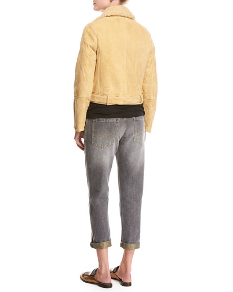 Belted Shearling Fur Moto Jacket, Marigold