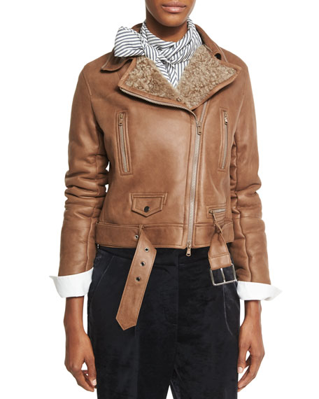 Shearling Fur-Lined Leather Moto Jacket, Light Brown