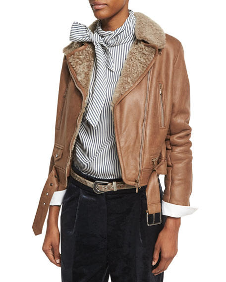 Brunello Cucinelli Shearling Fur-Lined Leather Moto Jacket, Light