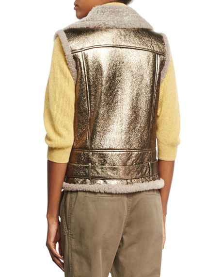 Metallic Leather Shearling-Lined Moto Vest, Bronze